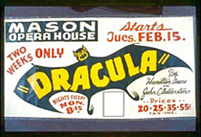 Photo of a 1938 poster that announces the play,