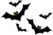 Picture of bats flying down the right side of the page.